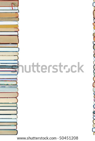 A pile of books isolated on white background