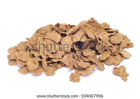 a pile of bran flakes on a white background