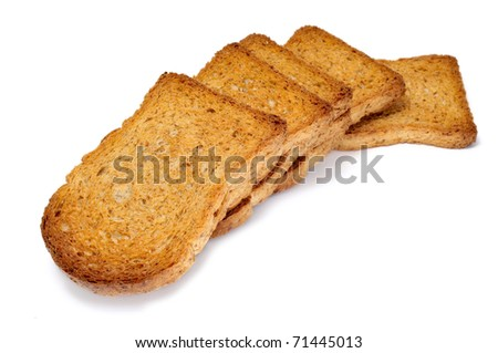 a pile of bread rusks isolated on a white background