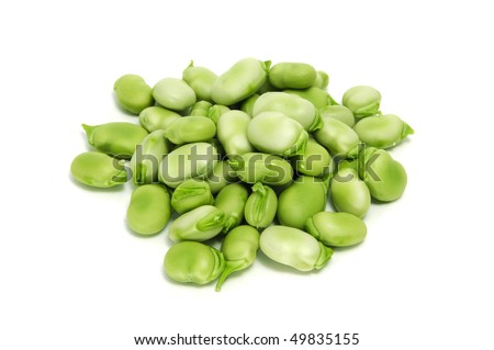 a pile of broad beans isolated on a white background