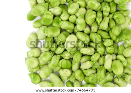a pile of broad beans on a white background