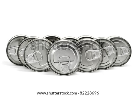 a pile of cans on a white background