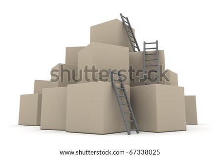 a pile of cardboard boxes - three grey ladders are used to climb to the top