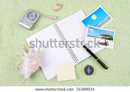 A pile of clutter items on green background