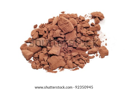a pile of cocoa powder on a white background