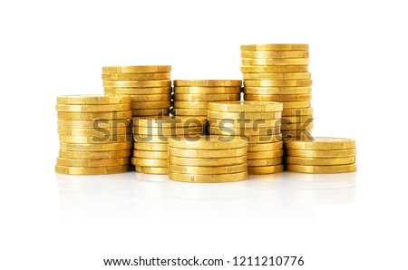 Photo of A pile of Coins on a white background