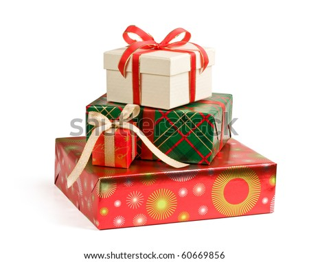 A pile of colorful Christmas gifts isolated on white background.