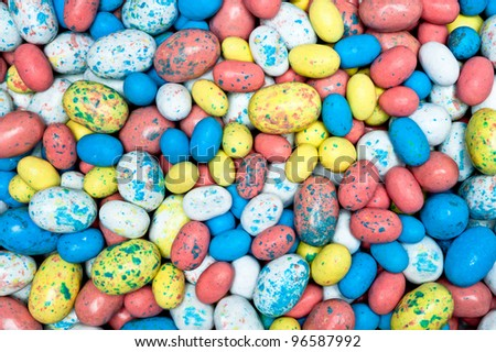 A pile of colorful malt candy Easter eggs