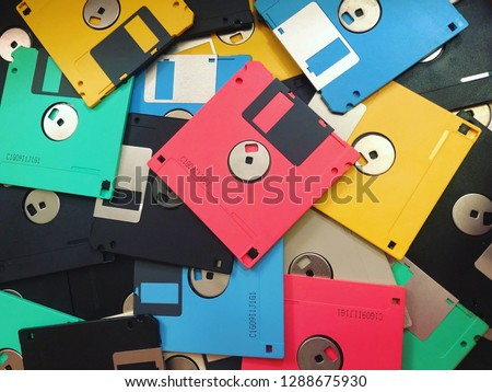 A Pile of Colorful Obsolete Floppy Disks