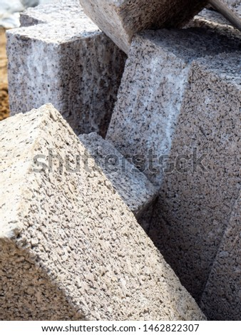 A pile of concrete blocks or bricks on a building site.  Zdjęcia stock ©