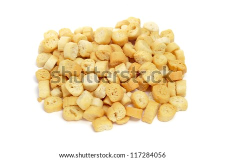 a pile of croutons on a white background