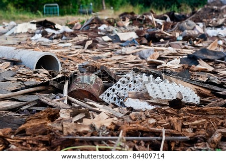 A pile of debris of destroyed building