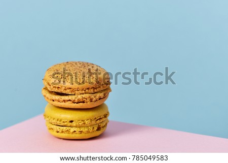 a pile of delicious macarons of different flavors on a pink and blue background with a blank space on the right #785049583