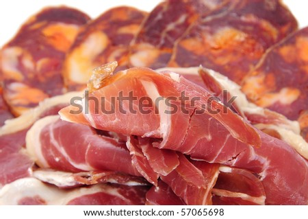 a pile of different spanish embutido, jamon and chorizo