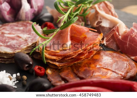 Shutterstock a pile of different spanish embutido, jamon, chorizo and lomo embuchado