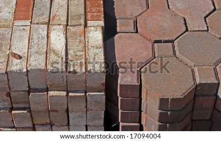 A pile of different styles of stone pavers for a walkway or patio.