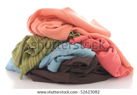 a pile of dirty clothing isolated on white background