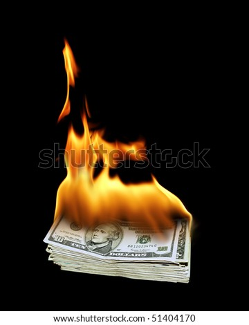 a pile of 10 dollar bills on fire