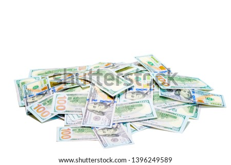A pile of 100 dollar bills piled on white background isolated