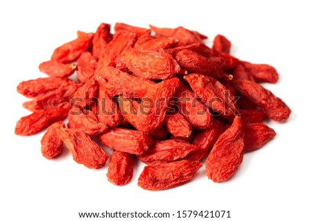 a pile of dried Chinese wolfberries isolated on white background Stock photo ©