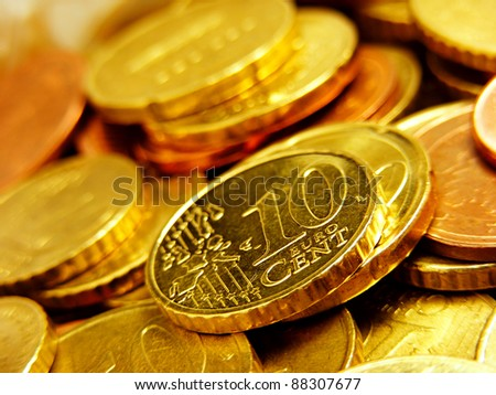 A pile of Euro Coins. Finance concept.