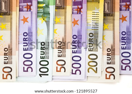 A pile of European Union banknotes