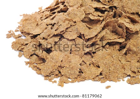 a pile of fiber flakes on a white background - stock photo