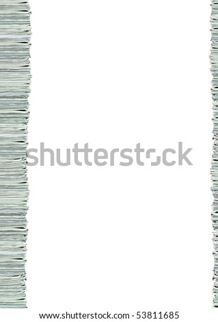 A pile of folded newspapers as a border isolated on white background with copy space area