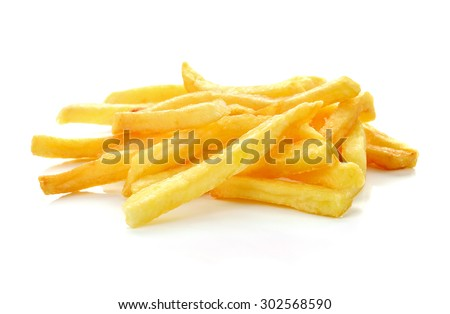 a pile of french fries isolated on white #302568590