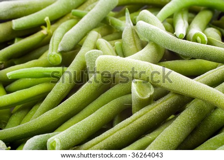 A pile of frozen green beans ready to be cooked