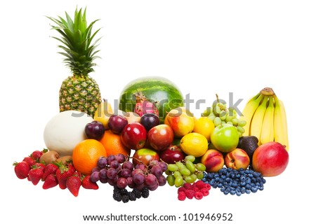 A pile of fruit isolated on a white background