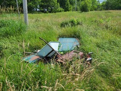 A pile of garbage in a backyard. The trash and junk is a whole array of stuff including a wheelbarrow, wagon, and other miscellaneous items thrown in the wilderness.