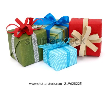 A pile of gift boxes, holiday presents  #219628225