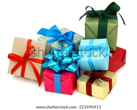 A pile of gift boxes, holiday presents  #223490413