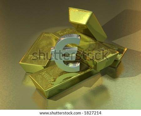 A pile of gold bars with a silver Euro symbol