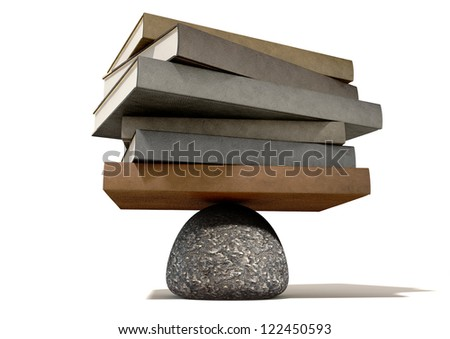 A pile of leather books balancing on a rounded stone on an isolated background