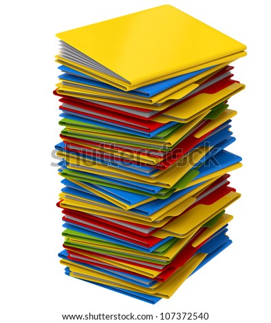 a pile of multi-colored folders with important information