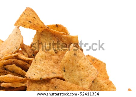 a pile of nachos isolated on a white background