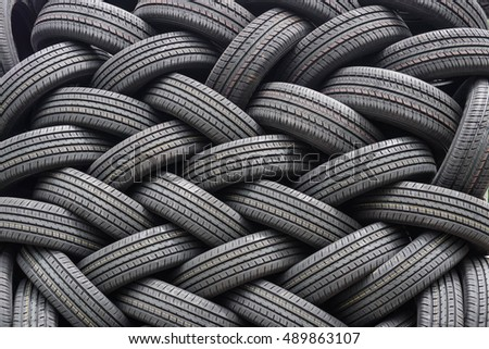 A pile of new automobile tires #489863107