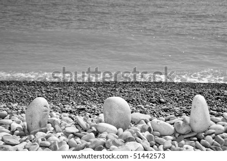 a pile of pebbles in the sea shor in black and white