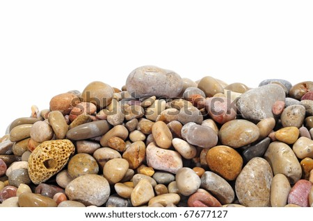 a pile of pebbles isolated on a white background
