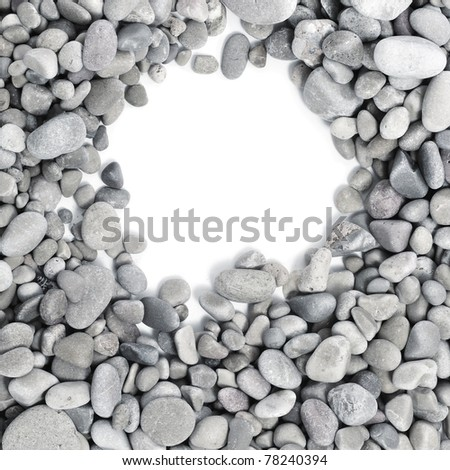a pile of pebbles on a white background as a frame