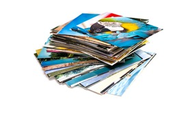 A pile of photographs with your empty space.