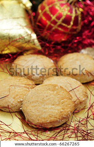 a pile of polvorones, typical spanish sweets, on a christmas background
