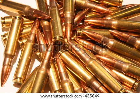 a pile of rifle bullets