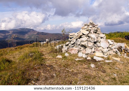 a Pile of rocks , at the hill