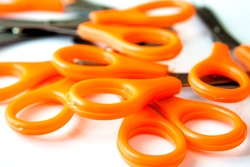 A pile of scissors isolate with white background.