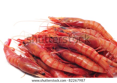 a pile of shrimps on a white background