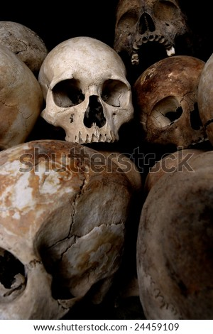 stock photo A pile of skulls from the Killing Fields in Phnom Penh