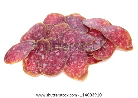 a pile of slices of salchichon, spanish salami, on a white background